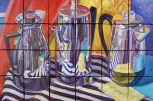 Grid Retro Coffee Pots, oil on mini 4X4 canvas mounted to wood support, 25X17,